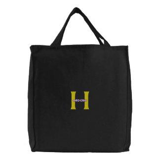 Bolsa Tote Bordada Saco bordado monograma dos chinelos da letra H