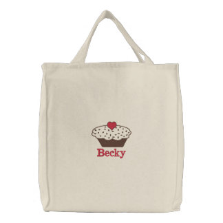 Bolsa Tote Bordada saco bordado personalizado cupcake do chocolate