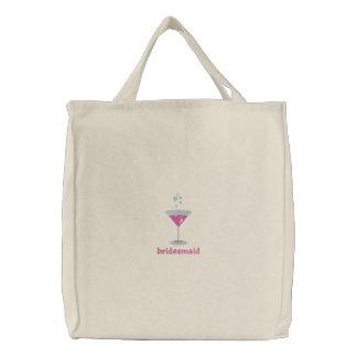 Bolsa Tote Bordada Saco bordado personalizado Martini cor-de-rosa