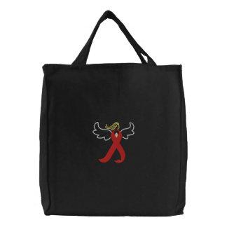 Bolsa Tote Bordada Sacola vermelha da fita do anjo do AIDS