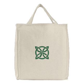 Bolsa Tote Bordada Teste padrão celta verde do design 3 de Knotwork