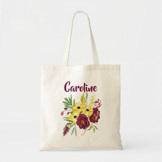 Bolsa Tote Bordéus e flores amarelas da aguarela das peônias