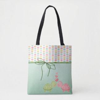 Bolsa Tote Botões coloridos femininos, tartarugas no amor