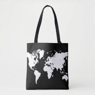 Bolsa Tote Branco preto do mapa do mundo do design 69