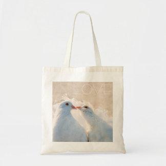 Bolsa Tote Branco que beija pombas - amor customizável