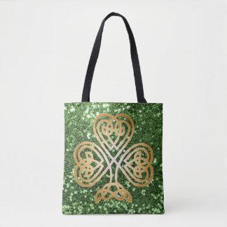 Bolsa Tote Brilho celta de brilho dourado do falso do verde