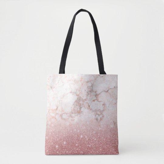 Bolsa Tote Brilho cor-de-rosa Ombre de mármore branco do ouro