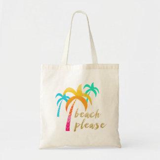 """Bolsa Tote brilho """"praia do ouro por favor"""" com palmas"""