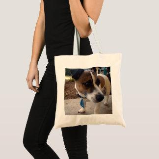 Bolsa Tote Brown e Fox Terrier branco,