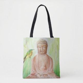 Bolsa Tote Buddha com o pássaro do coletor da abelha