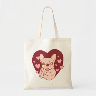 Bolsa Tote Buldogue francês que compartilha do amor e da