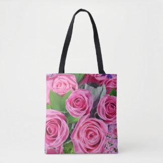 Bolsa Tote Buquê cor-de-rosa dos rosas -