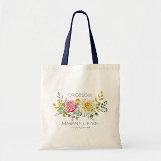 Bolsa Tote Buquê das flores do rosa do amarelo & do rosa