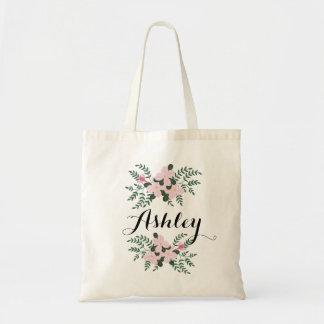 Bolsa Tote Buquê floral cor-de-rosa mim nome do costume da