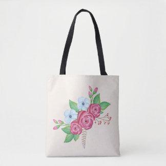 Bolsa Tote Buquê floral da flor da aguarela