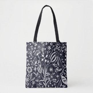Bolsa Tote Buquê floral do índigo - iniciais personalizadas