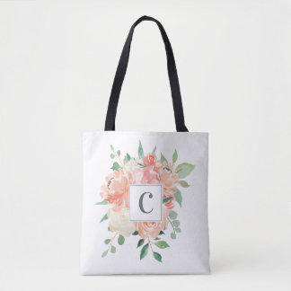 Bolsa Tote Buquê floral do pêssego com algum monograma