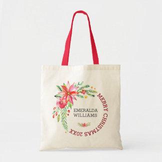Bolsa Tote Buquê floral & texto das flores do Feliz Natal