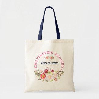 Bolsa Tote Buquê & texto coloridos das flores para casamentos