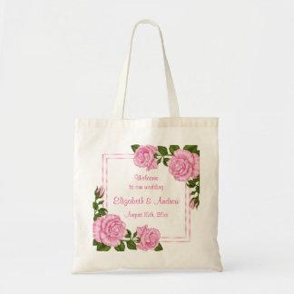 Bolsa Tote Buquês de canto cor-de-rosa bonito que Wedding a