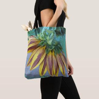 Bolsa Tote Cabeça do girassol de dois tons floral