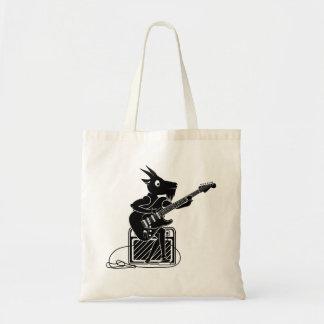 Bolsa Tote Cabra preto e branco que joga uma guitarra