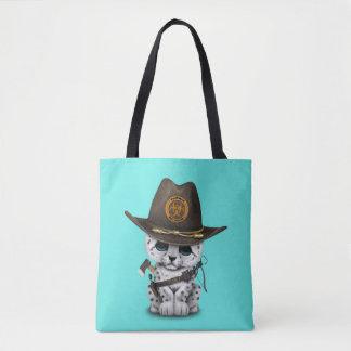 Bolsa Tote Caçador bonito do zombi de Cub do leopardo de neve