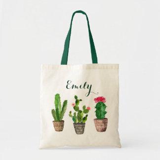 Bolsa Tote Cacto floral personalizado da sacola