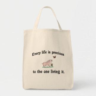 Bolsa Tote CADA VIDA É saco bonito PRECIOSO do porco