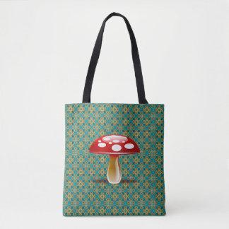 Bolsa Tote Caleidoscópio de turquesa e sacola vermelha do