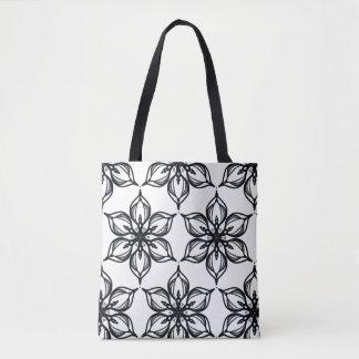 Bolsa Tote Caleidoscópio preto e branco da flor