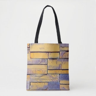 Bolsa Tote Camadas Funky da lavanda amarela de tijolos