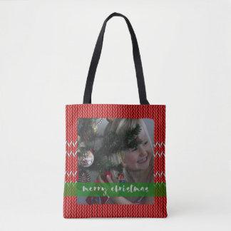 Bolsa Tote Camisola do vermelho do Feliz Natal