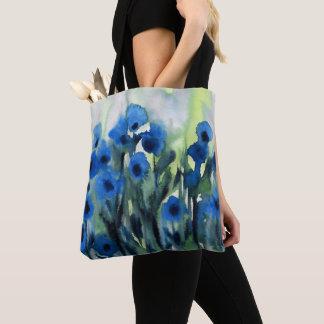 "Bolsa Tote ""Campo azul aguarela abstrata das flores"""