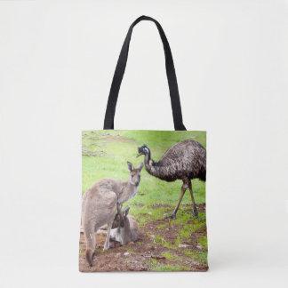 Bolsa Tote Canguru e Emu, saco de compras completo do