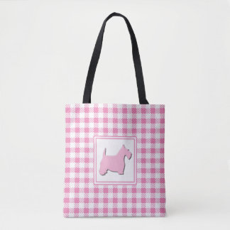 Bolsa Tote Cão cor-de-rosa do Scottie da xadrez do búfalo