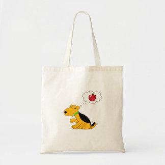 Bolsa Tote Cão de Airedale dos desenhos animados que pensa