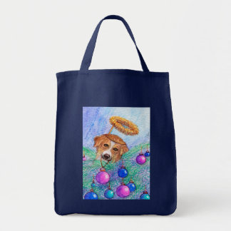 Bolsa Tote Cão de border collie da árvore de Natal (fada)