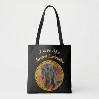 Bolsa Tote Cão de filhote de cachorro canino marrom de Elegan