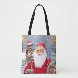 Bolsa Tote Cão de Rottweiler dos presentes do Natal de Papai