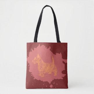 Bolsa Tote Cão de Scotty no saco do vermelho alaranjado