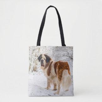 Bolsa Tote Cão de St Bernard no saco da neve