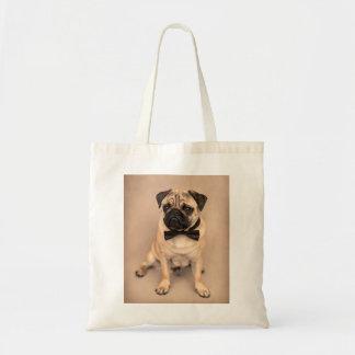 Bolsa Tote Cão do Pug da jovem corça com laço