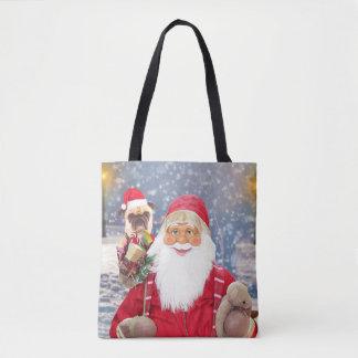 Bolsa Tote Cão do Pug dos presentes do Natal de Papai Noel w