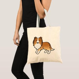 Bolsa Tote Cão dos desenhos animados de Sheltie do Sable