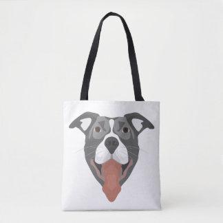 Bolsa Tote Cão Pitbull de sorriso da ilustração