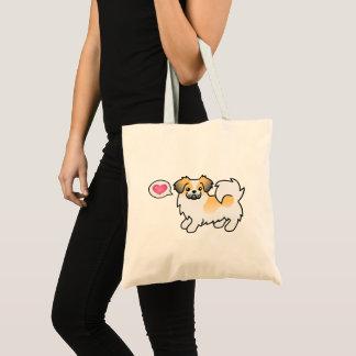 Bolsa Tote Cão tibetano dos desenhos animados do Spaniel da