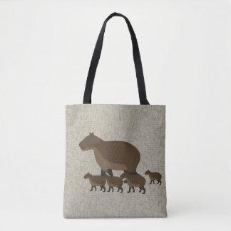 Bolsa Tote Capybara por todo o lado na sacola