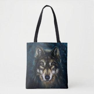 Bolsa Tote Cara artística do lobo toda sobre - imprima a