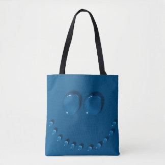 Bolsa Tote Cara de sorriso feita dos waterdrops em um azul